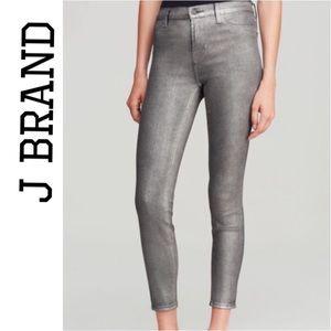 J Brand Skinny Midnight Metal Silver Jeans 24 NWT